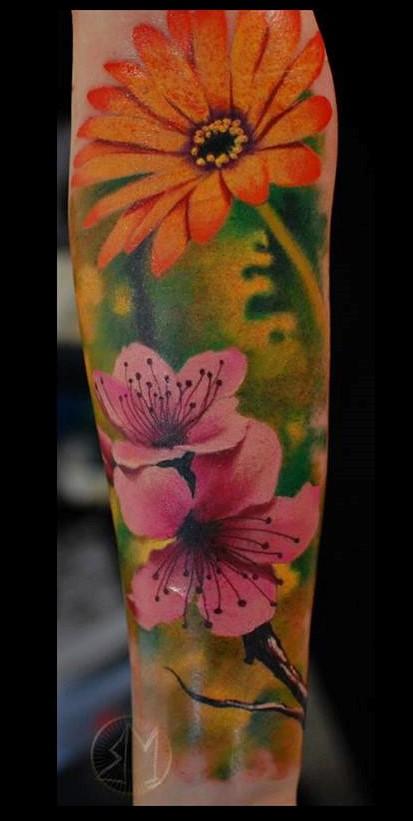 colorful flowers blumen tattoo tätowierung tattoo anansi münchen munich minga