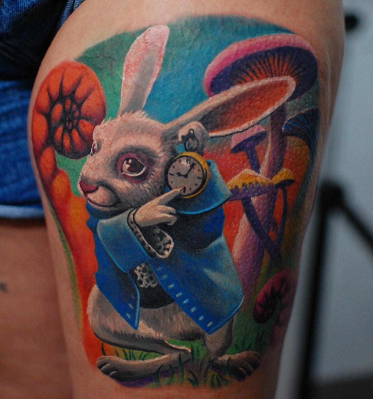 alice in wonderland tattoo bunny hase marci color tattoo shop top best bester beste bestes münchen tempel