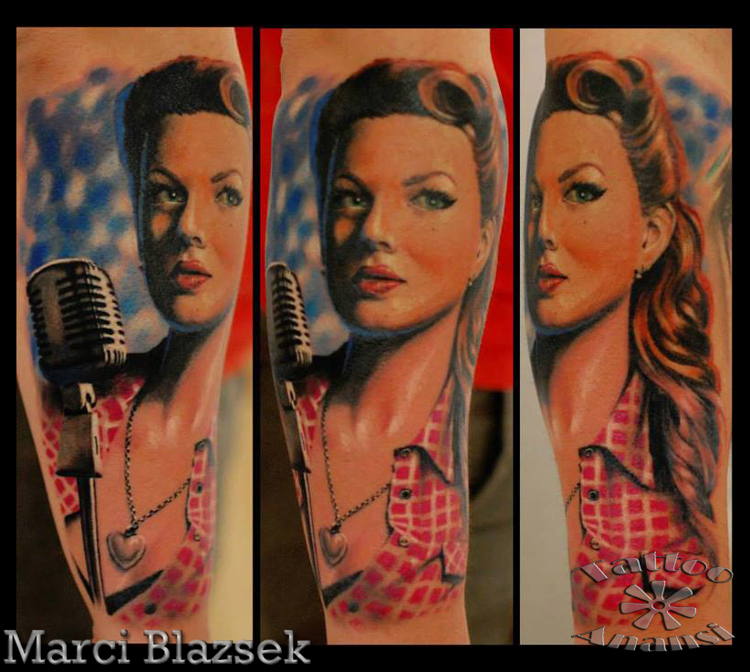 color tattoo girl woman singer pinup beautiful munich münchen tätowierer shop laden