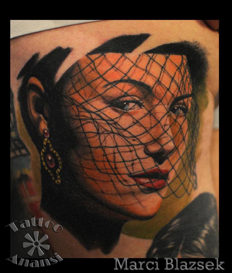 woman girl lady schleier portrait best bestes beste tattoo münchen munich shop store tätowierer tätowierung marci anansi