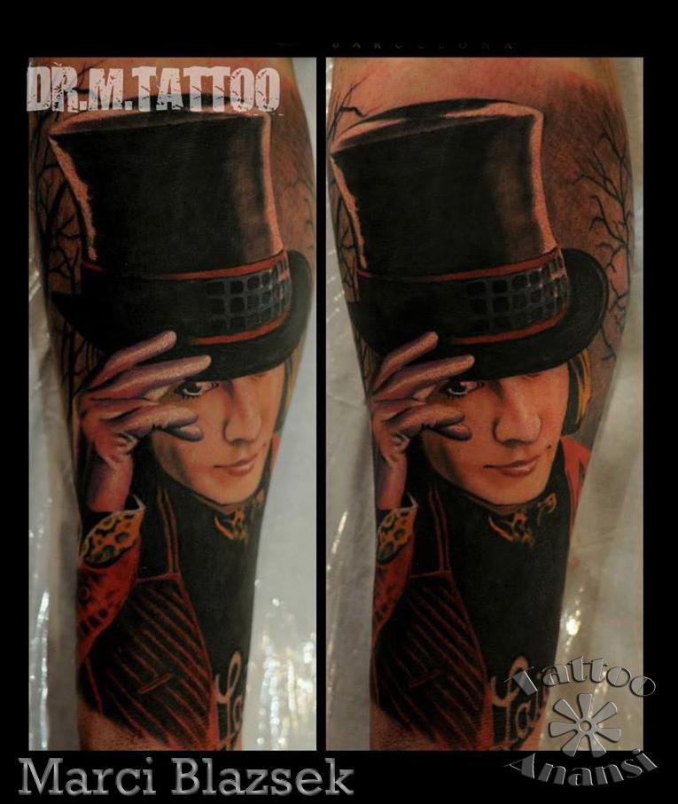 johnny depp portrait tattoo marci tattoo anansi münchen shop top bestes bester tempel