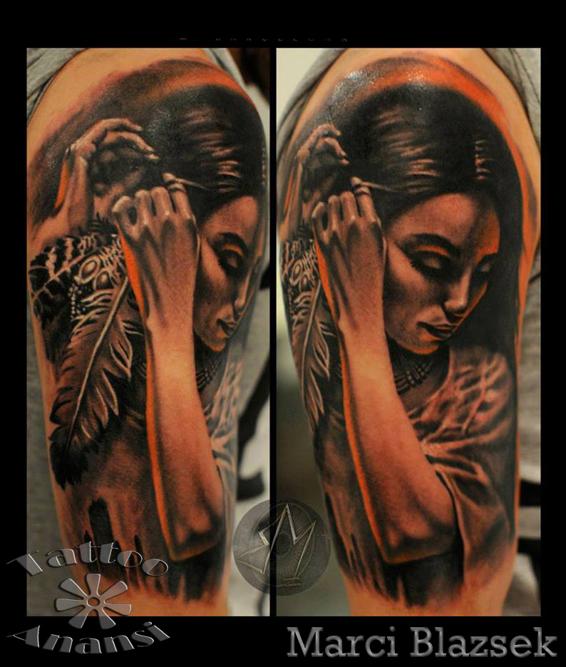 woman beautiful realistic tattoo work arbeit marci shop store munich münchen minga  tempel julian siebert