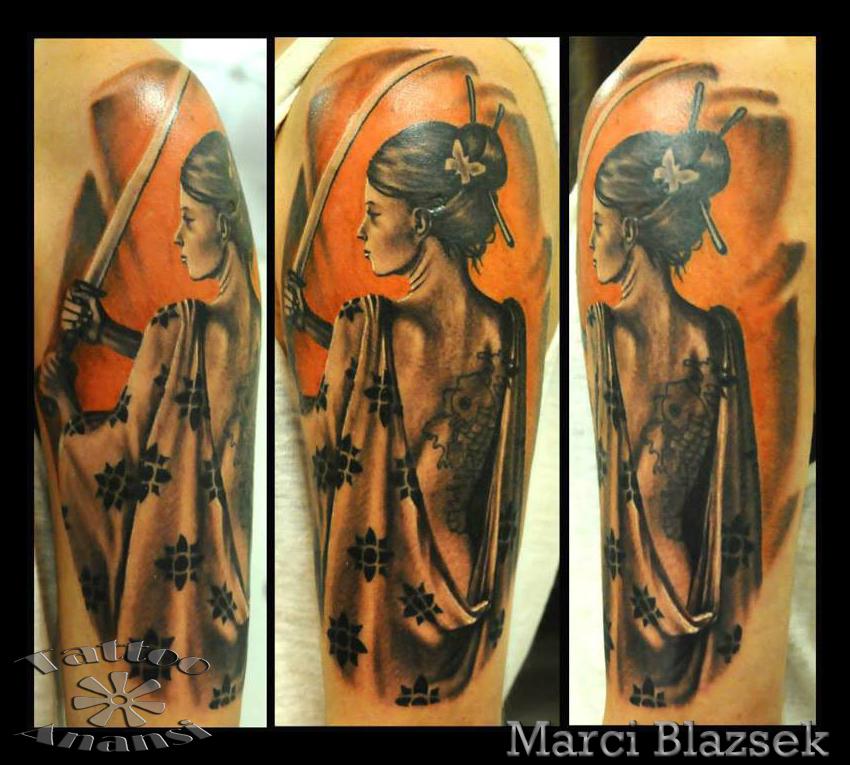 samurai japan geisha tattoo asia color marci münchen minga munich künstler artist best bester bestes tätowierung