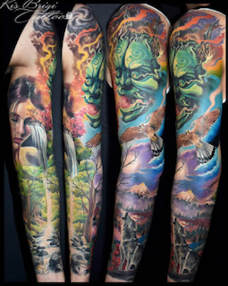 tattoo anani münchen sleeve farbe asian amazing beautiful tätowierer artist best Brigi