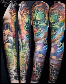 tattoo anani münchen sleeve farbe asian amazing beautiful tätowierer artist best Brigi