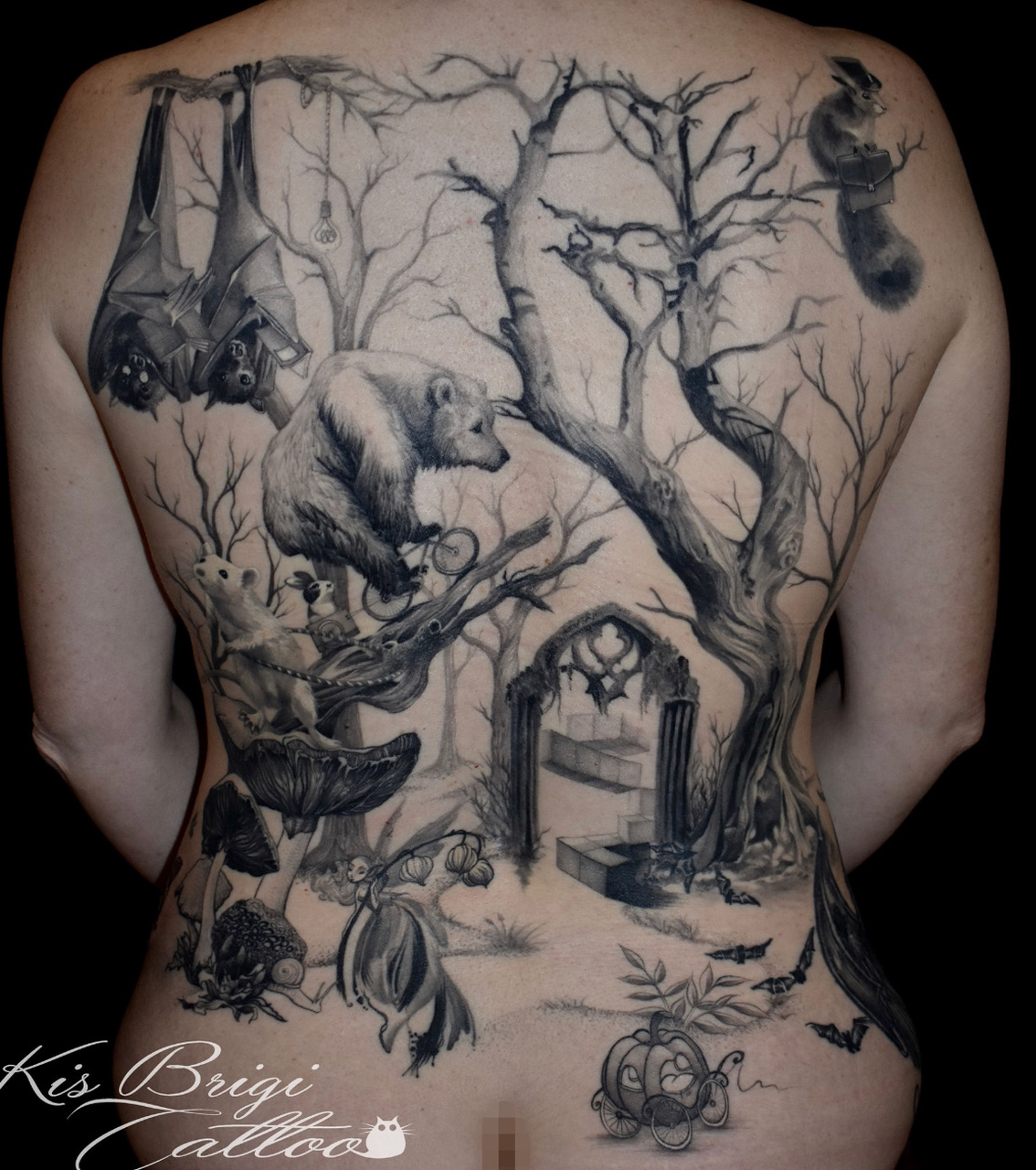 Wald Tiere Familie back piece by Brigi