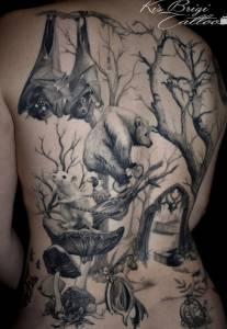 tattoo anansi münchen munich minga wald brigi tätowierer amazing back realismus wald tiere tiermotive2