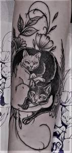 Tattoo Studio Anansi München David best bestes blackwork linewrk cat Katze