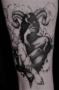Tattoo Studio Anansi München David best bestes dotwork darktrash blackwork black and grey pan faun