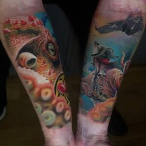 Tattoo Anansi München Artist James realism Realismus color underwater octopus captain