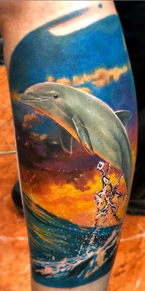 Tattoo Studio Anansi München Otto best bestes color realismus delfin