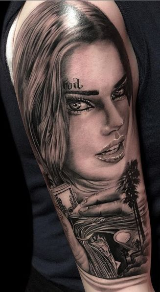 Tattoo Studio Anansi München Otto best bestes realismus black and grey portrait frau woman
