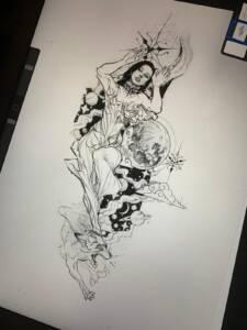 tattoo anansi münchen David blackwork neotraditional line