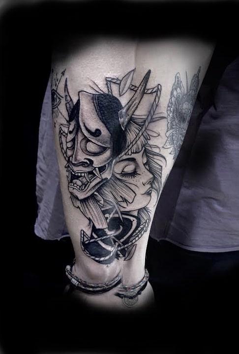Tattoo Anansi München Artist David neotraditional black and grey japanese mask Samurai portrait