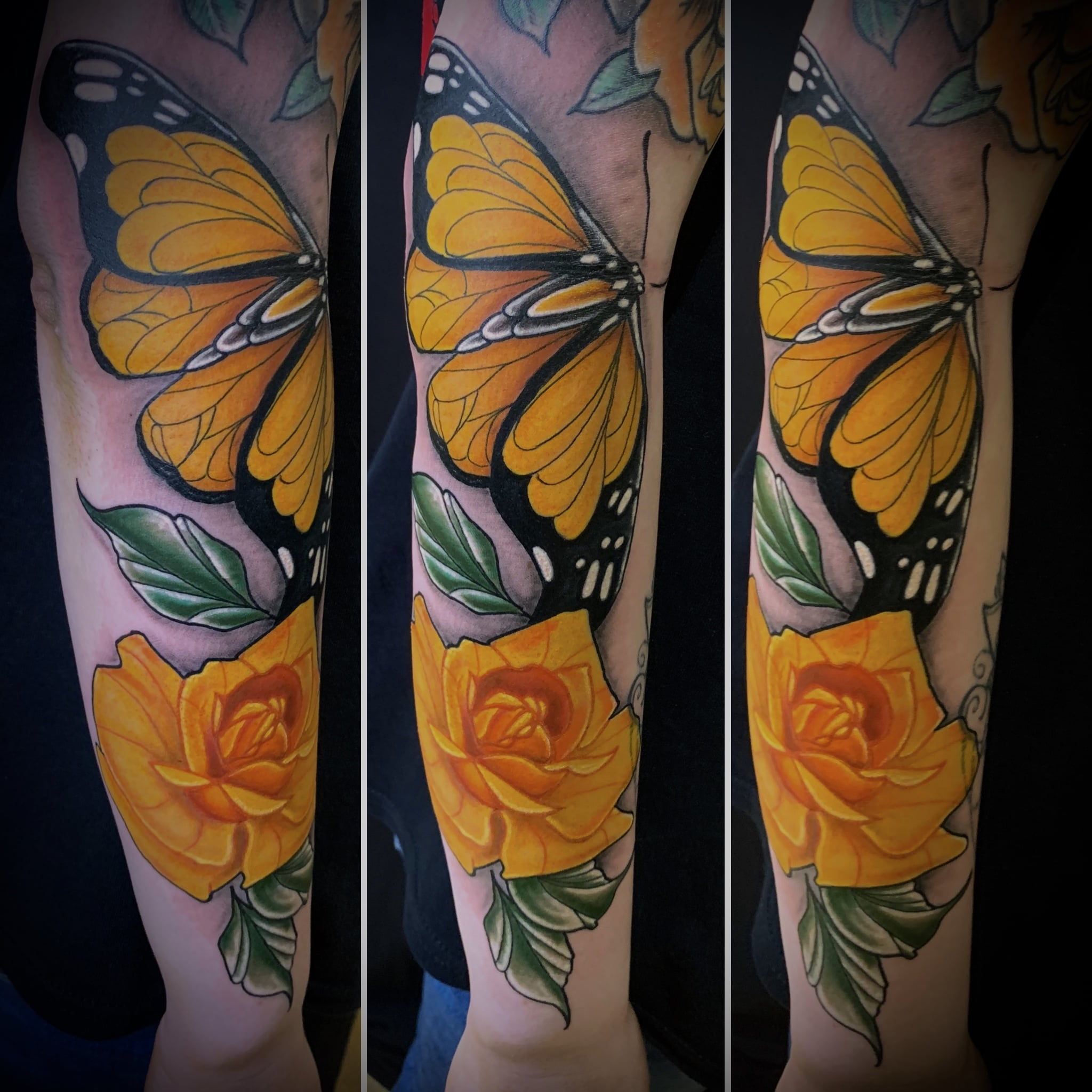 Tattoo Anansi München Artist David neotraditional color butterfly Schmetterling rose sleeve
