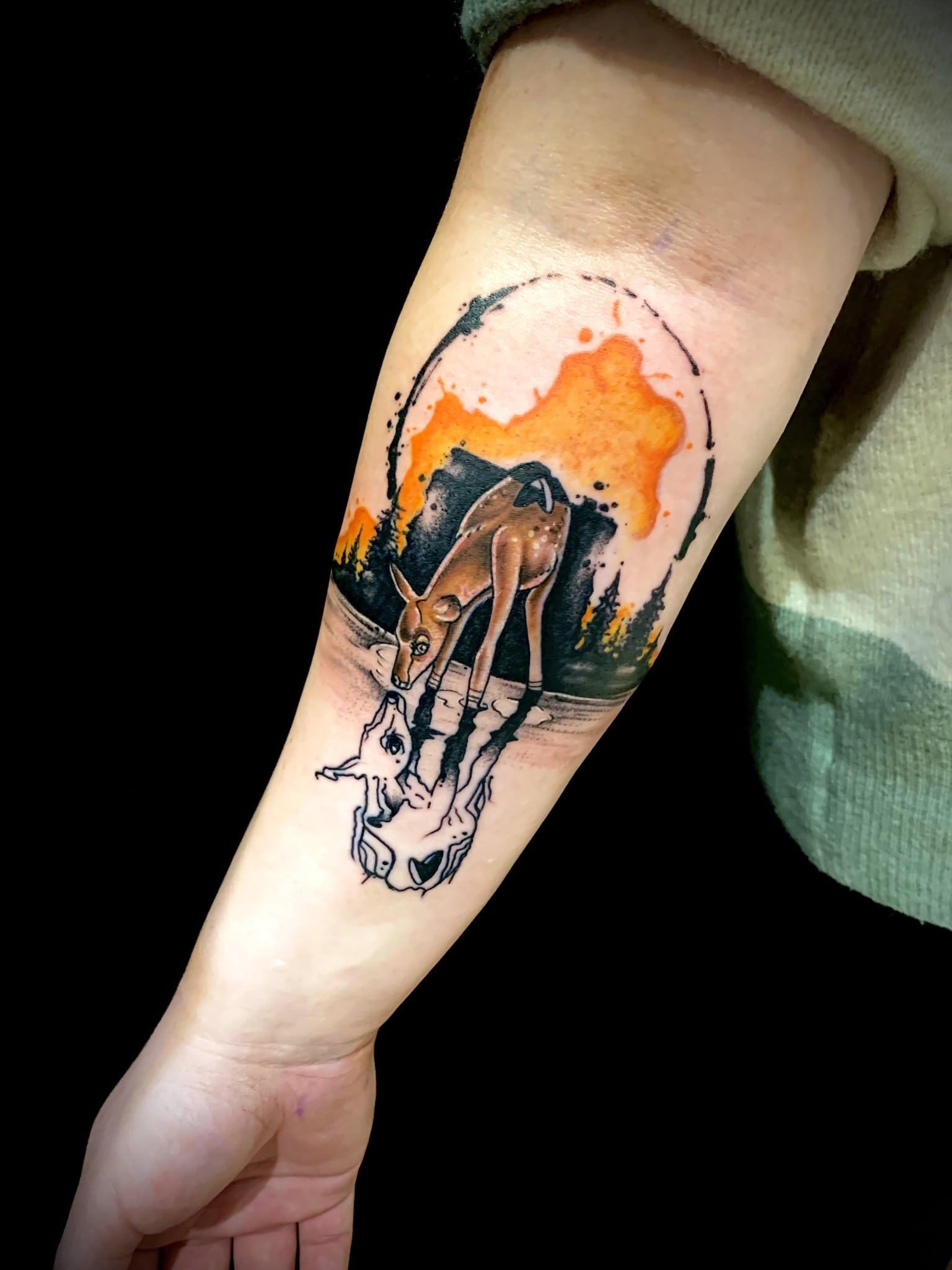 Tattoo Anansi München Artist David blackwork watercolor aquarell bambi forrest Wald
