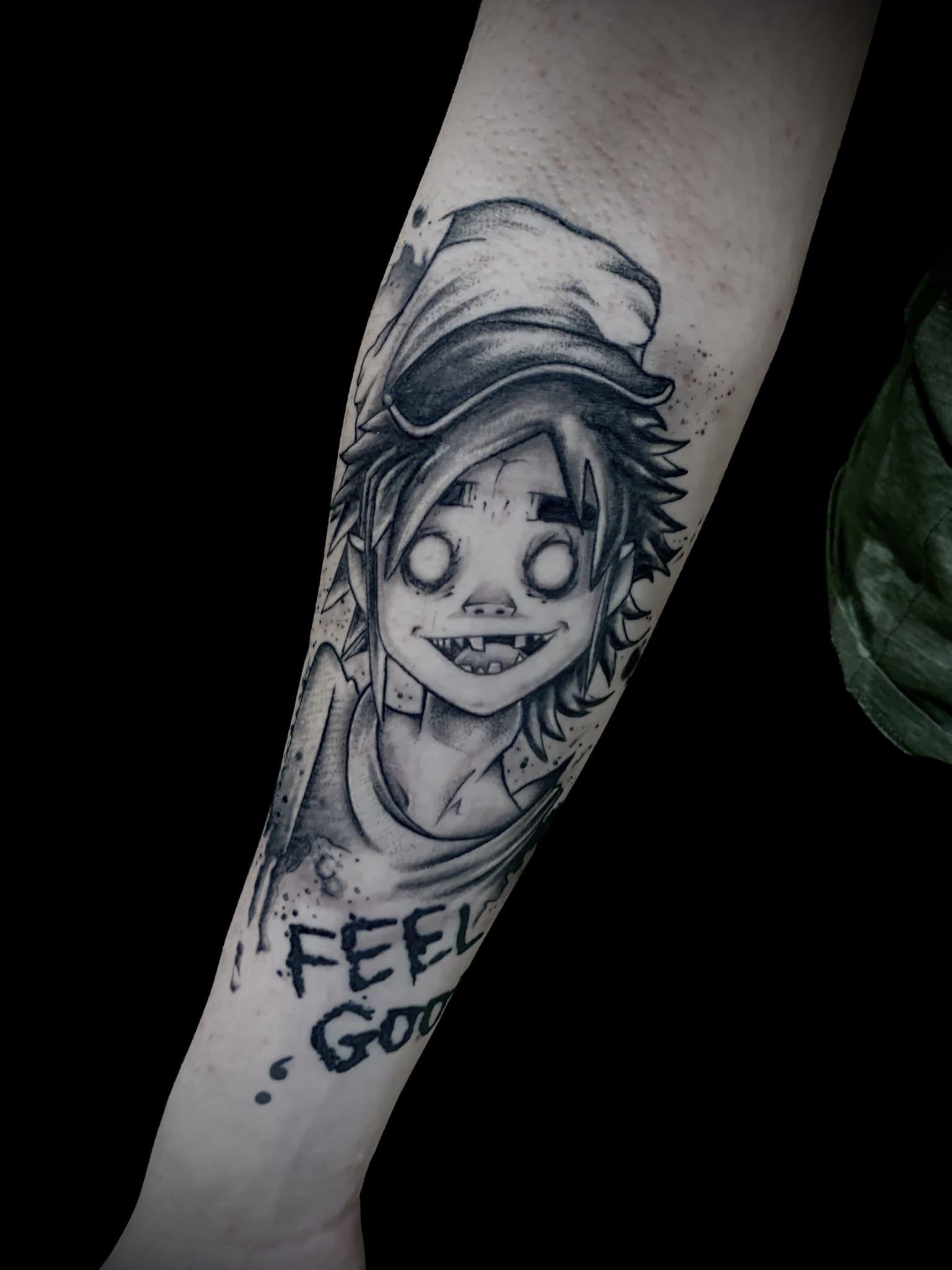 Tattoo Anansi München Artist David blackwork sketch neotraditional portrait gorillaz band fan