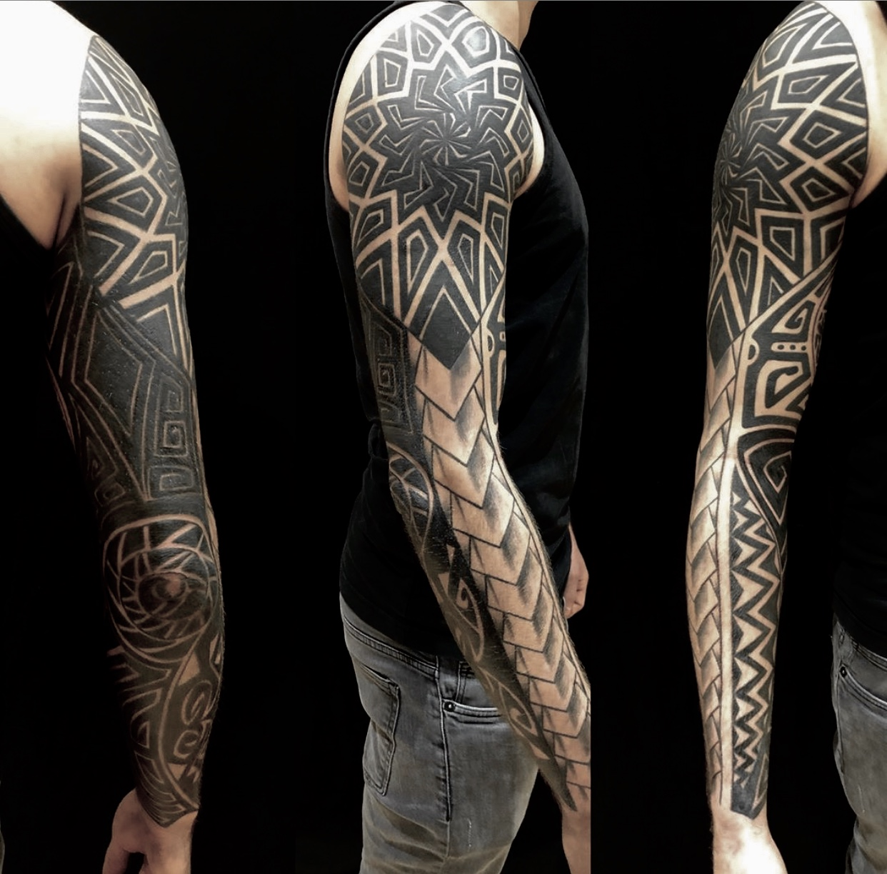 tattoo studio anansi münchen geometrisch black full sleeve gross black work best bestes bester gtgd