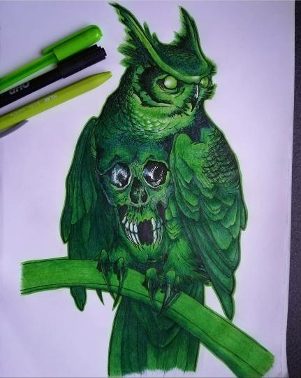 tattoo studio anansi münchen munich eule owl grün green zeichnung traditional