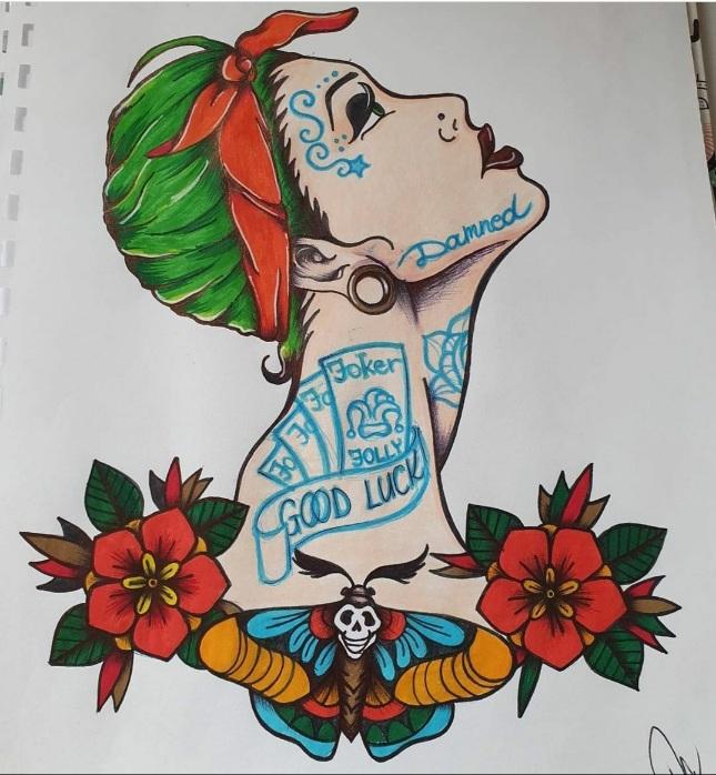tattoo studio anansi münchen munich melinda tätowiererin old school zeichnung