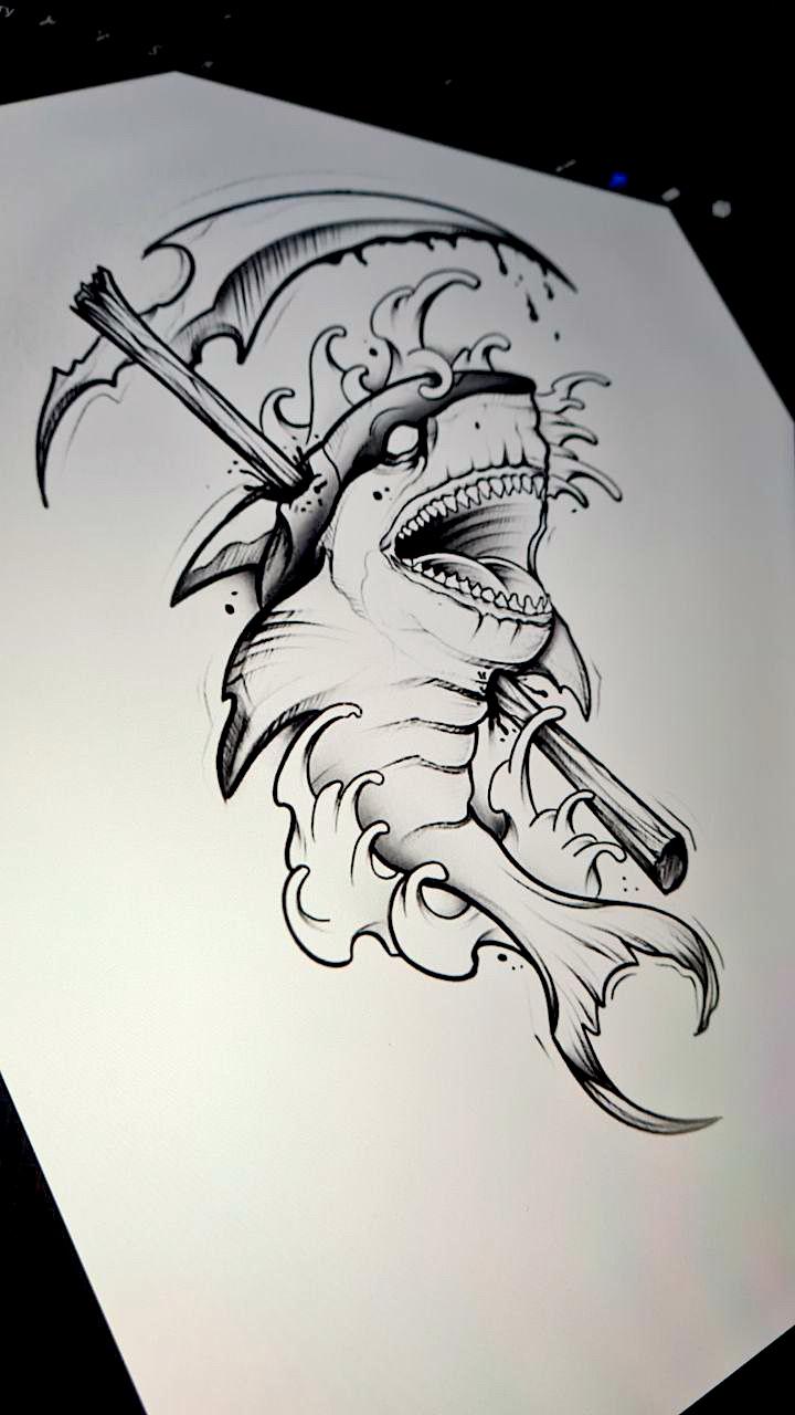 Tattoo Studio Anansi München Munich Vedran artist art shark Sense fantasy horror waves black and grey sketch wanna do
