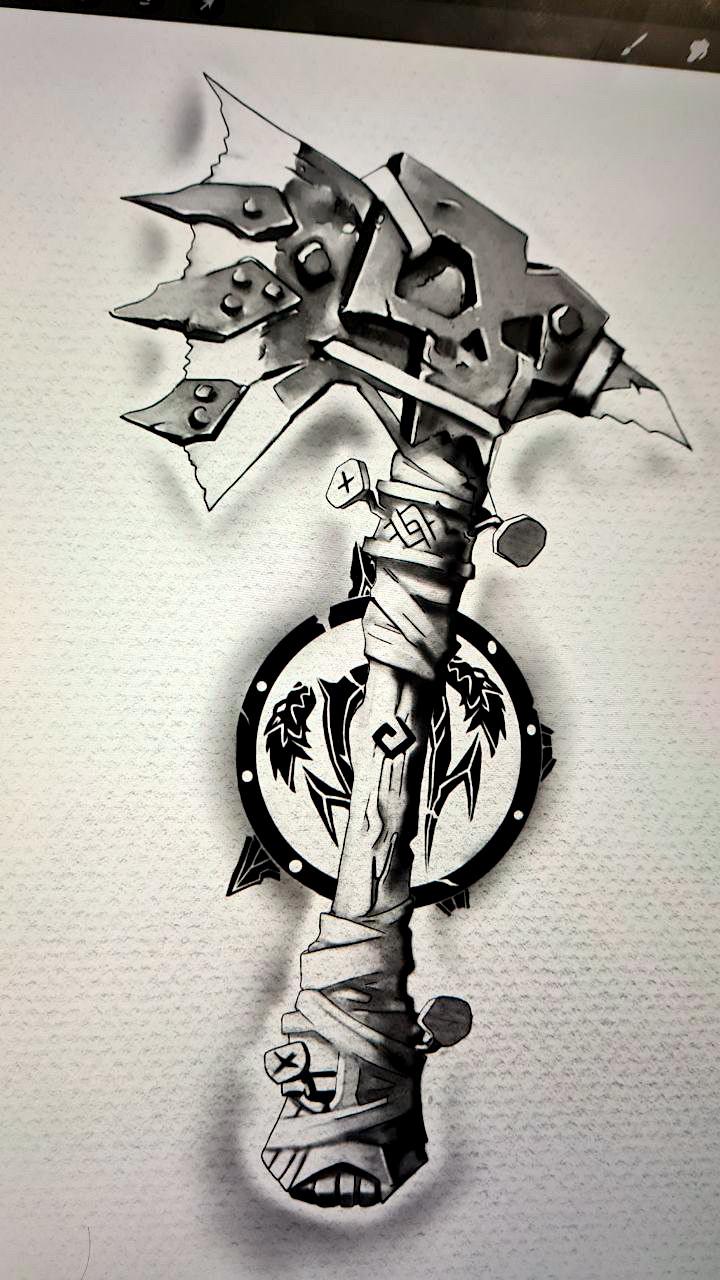 Tattoo Studio Anansi München Munich Vedran artist art wanna do sketch digital vikings Wikinger Axt Wappen Schild