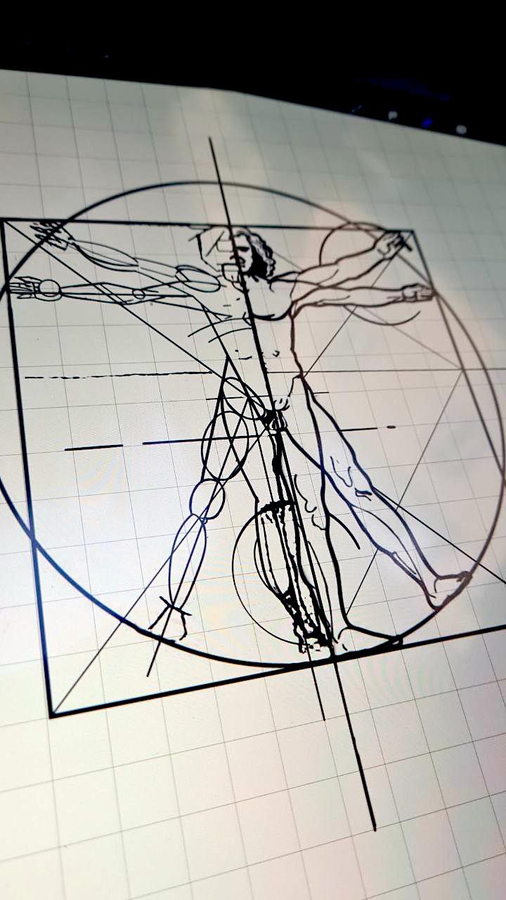 Tattoo Studio Anansi München Munich Vedran artist art wanna do sketch digital vitruvianischer Mensch Mann von Vitruv Sketch Skizze Details small lines